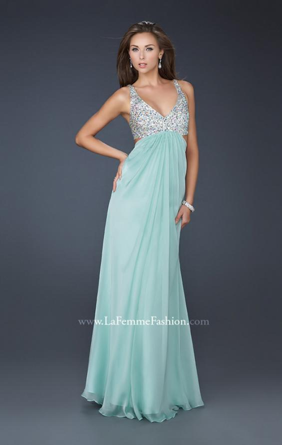 Picture of: Full Length Chiffon Gown with Beaded Bra Shaped Top in Green, Style: 17472, Detail Picture 2