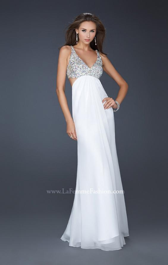 Picture of: Full Length Chiffon Gown with Beaded Bra Shaped Top in White, Style: 17472, Detail Picture 3