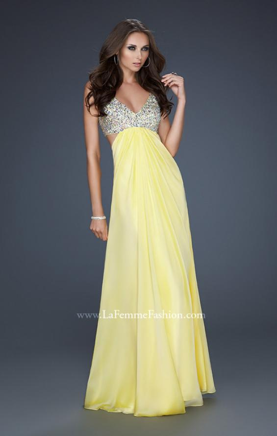 Picture of: Full Length Chiffon Gown with Beaded Bra Shaped Top in Yellow, Style: 17472, Detail Picture 4