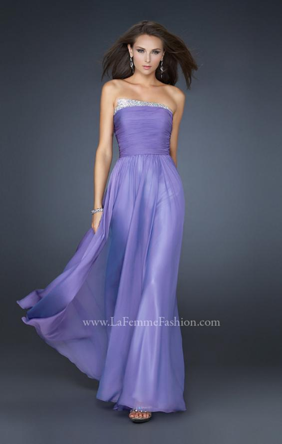 Picture of: Chiffon Dress with Pleated Front and Beaded Detail in Purple, Style: 17475, Main Picture