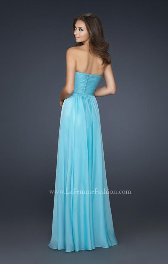 Picture of: Chiffon Dress with Pleated Front and Beaded Detail in Blue, Style: 17475, Back Picture