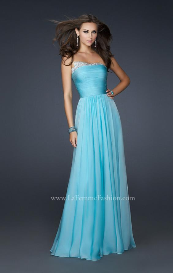 Picture of: Chiffon Dress with Pleated Front and Beaded Detail in Blue, Style: 17475, Detail Picture 1