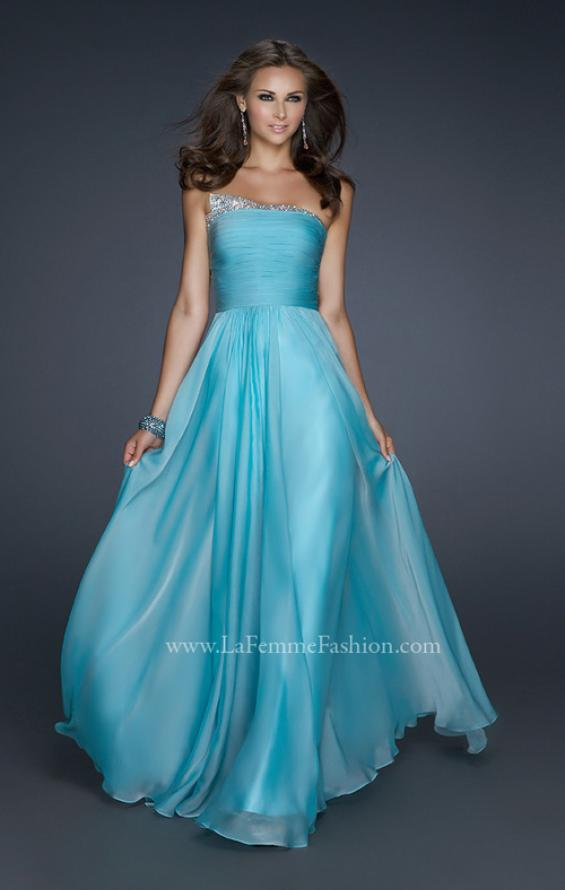 Picture of: Chiffon Dress with Pleated Front and Beaded Detail in Blue, Style: 17475, Detail Picture 2