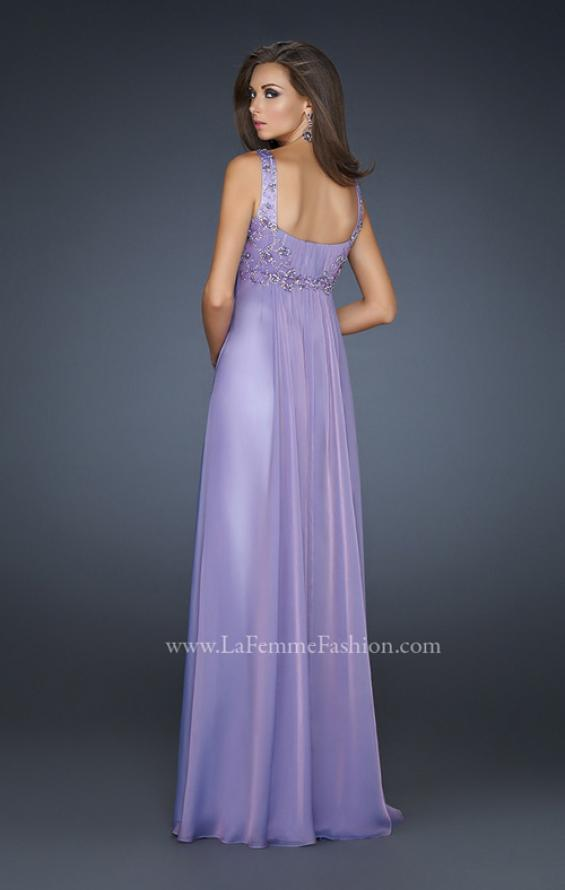 Picture of: Pleated Goddess Inspired Prom Dress with Beading in Purple, Style: 17476, Back Picture