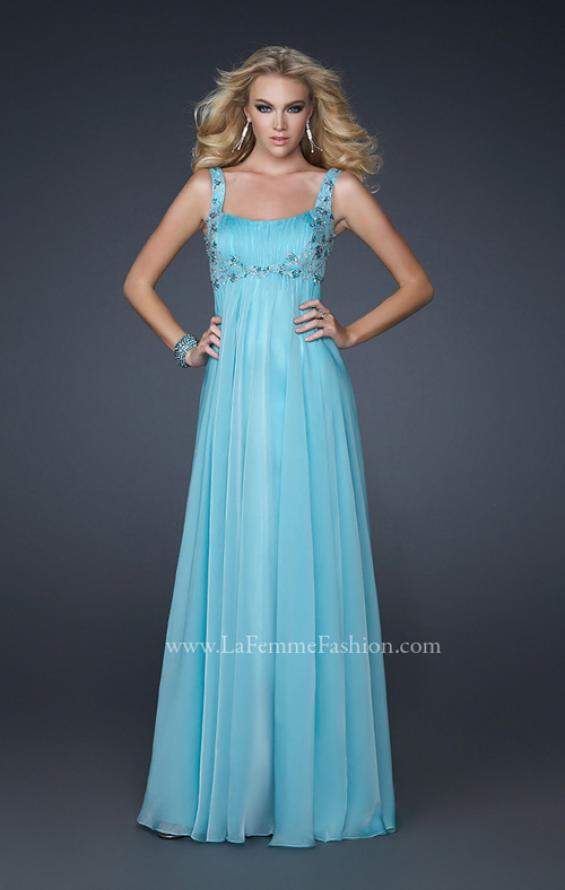 Picture of: Pleated Goddess Inspired Prom Dress with Beading in Blue, Style: 17476, Detail Picture 1