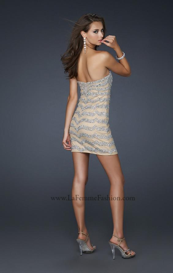 Picture of: Net Strapless Prom Dress with Accent Beading in Nude, Style: 17493, Back Picture