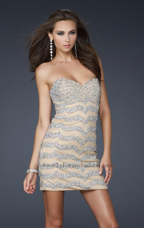 Picture of: Net Strapless Prom Dress with Accent Beading in Nude, Style: 17493, Detail Picture 1