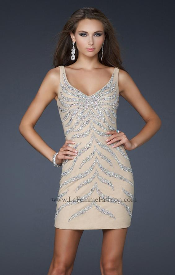 Picture of: Sexy Short Cocktail Dress with V Front and Back in Nude, Style: 17494, Main Picture