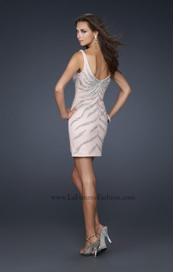Picture of: Sexy Short Cocktail Dress with V Front and Back in Pink, Style: 17494, Back Picture