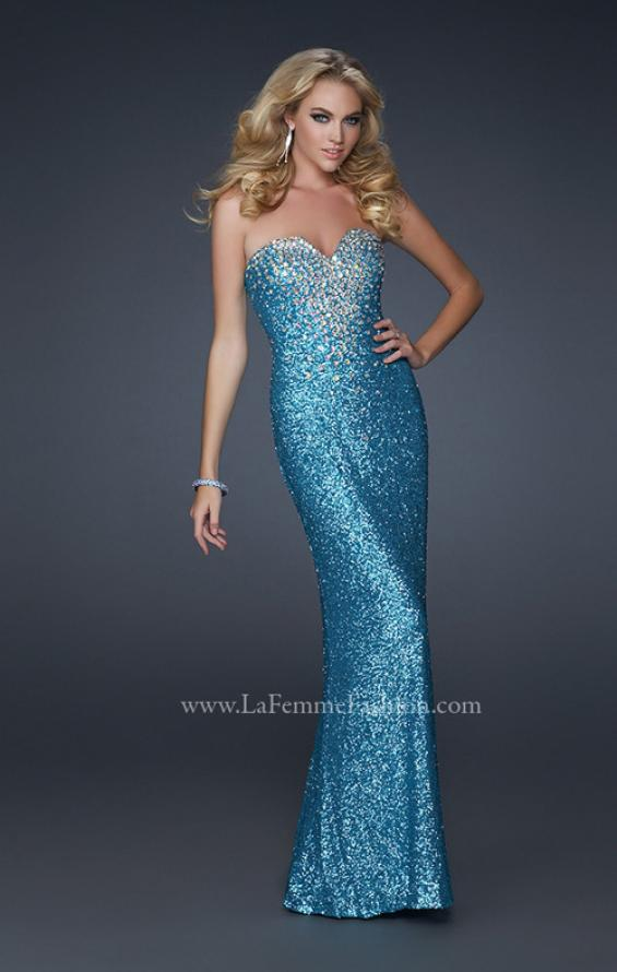 Picture of: Stretch Sequin Mermaid Prom Dress with Beaded Detail, Style: 17495, Detail Picture 2