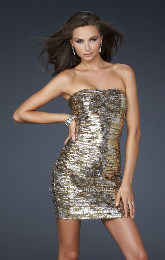 Picture of: Strapless Cocktail Dress with Gold and Silver Sequins, Style: 17496, Main Picture