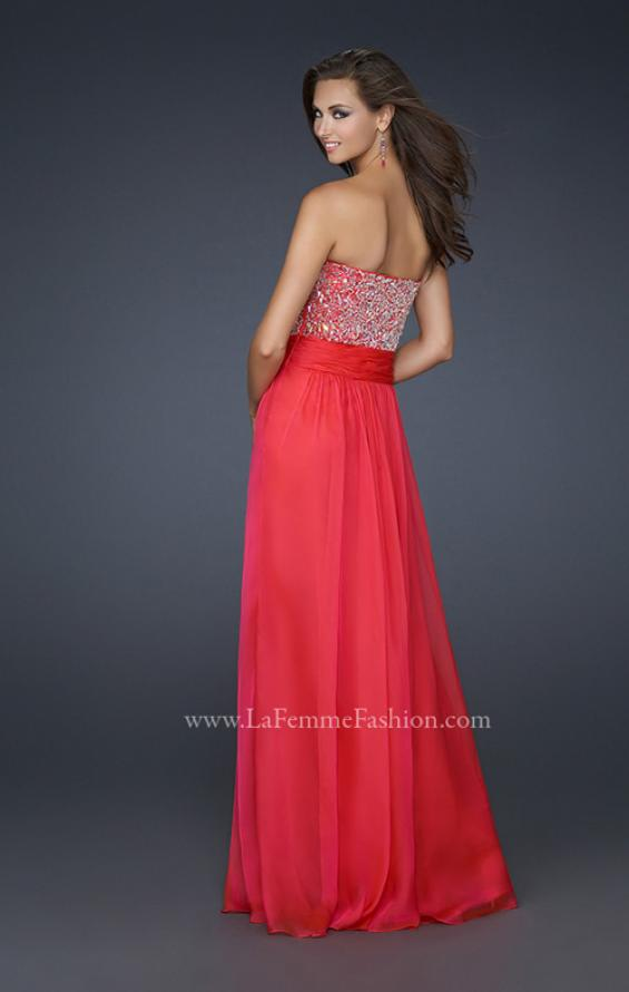 Picture of: Strapless Chiffon Dress with Pleated Waistband in Pink, Style: 17498, Back Picture