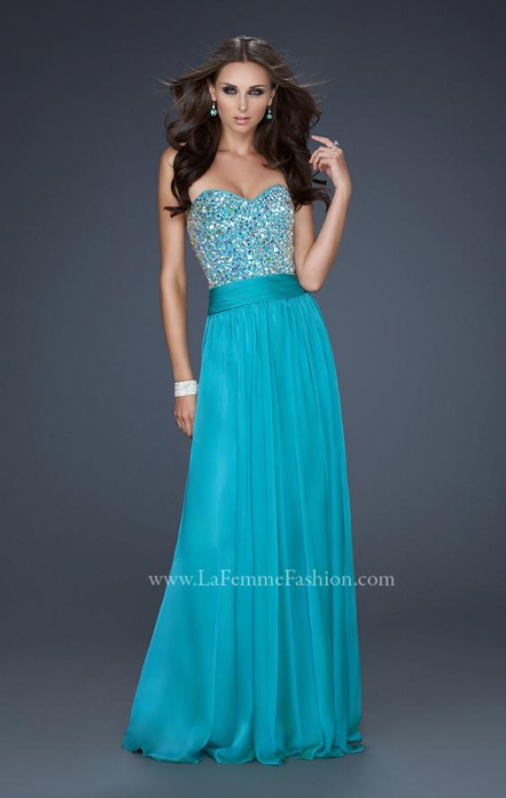 Picture of: Strapless Chiffon Dress with Pleated Waistband in Blue, Style: 17498, Detail Picture 2