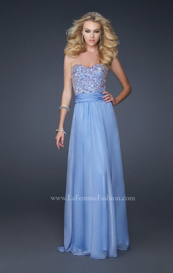 Picture of: Strapless Chiffon Dress with Pleated Waistband in Blue, Style: 17498, Detail Picture 4