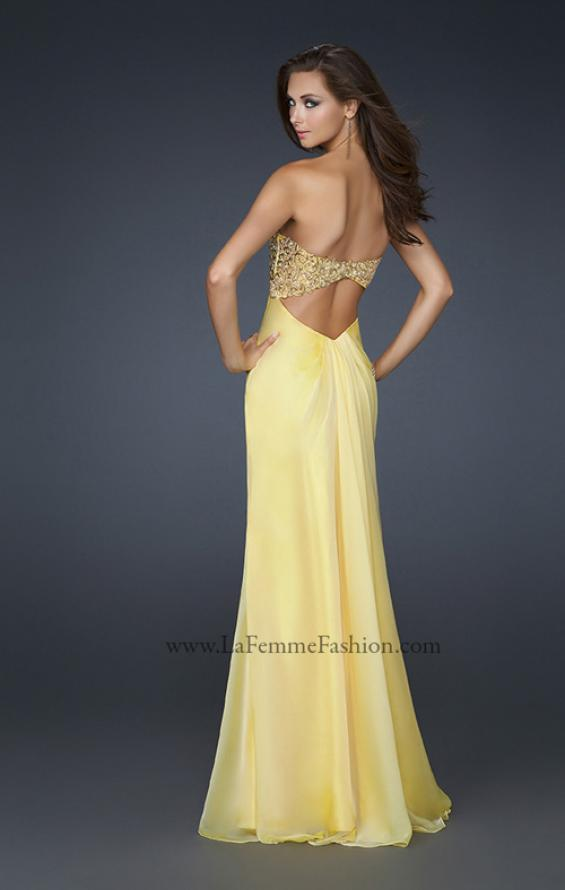 Picture of: Patterned Chiffon Prom Dress with Embellished Bust in Yellow, Style: 17499, Back Picture