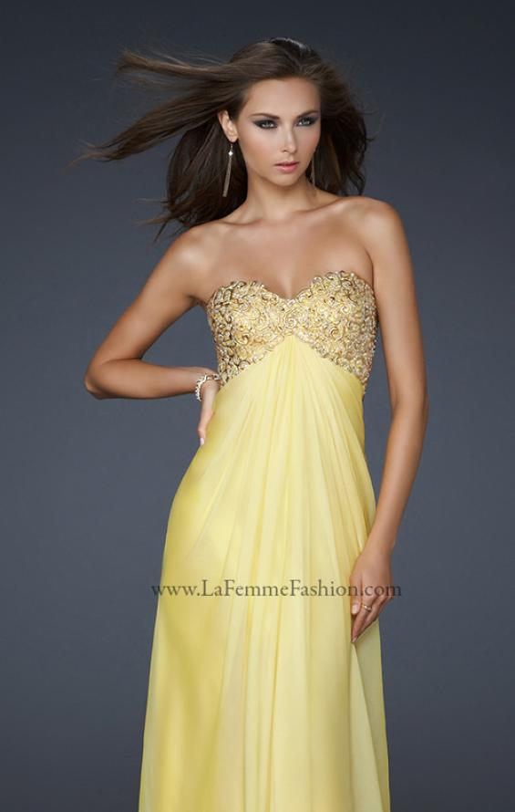 Picture of: Patterned Chiffon Prom Dress with Embellished Bust in Yellow, Style: 17499, Detail Picture 1