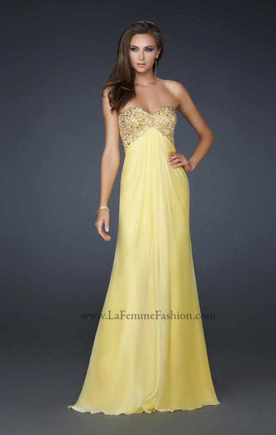 Picture of: Patterned Chiffon Prom Dress with Embellished Bust in Yellow, Style: 17499, Detail Picture 2