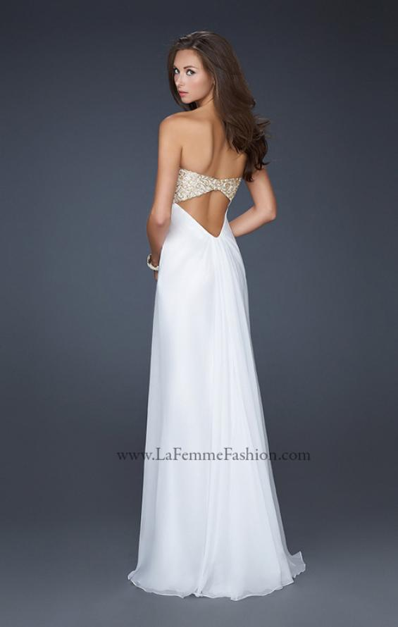 Picture of: Patterned Chiffon Prom Dress with Embellished Bust in White, Style: 17499, Detail Picture 3