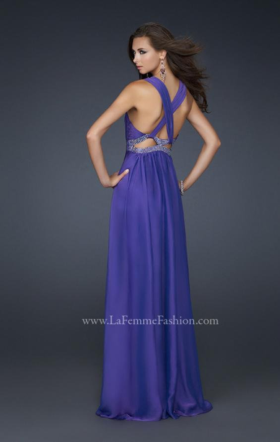 Picture of: Deep V Neck Chiffon Prom Dress with Pleating, Style: 17503, Back Picture