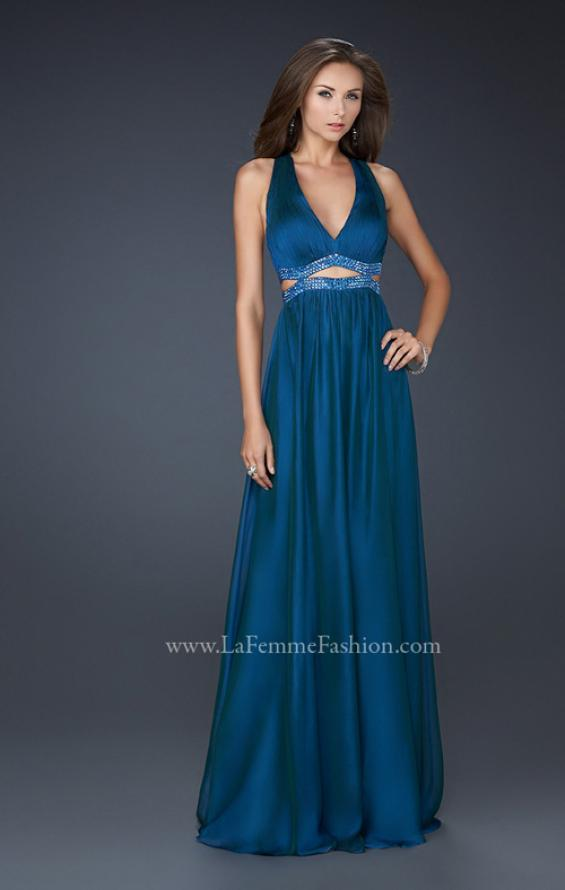 Picture of: Deep V Neck Chiffon Prom Dress with Pleating, Style: 17503, Detail Picture 1