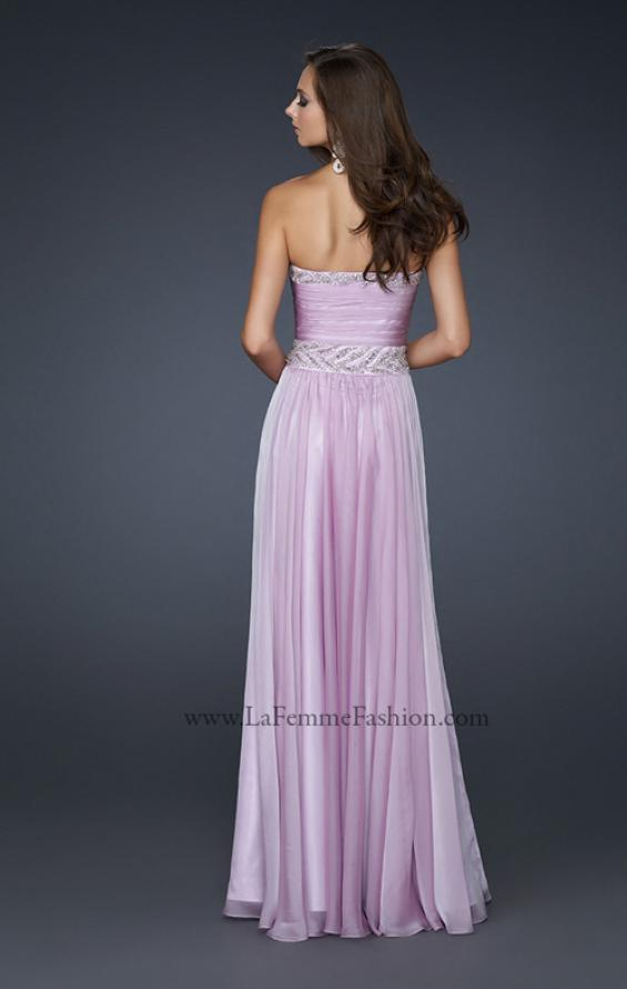Picture of: Strapless Chiffon Gown with Embellished Waistband, Style: 17505, Back Picture