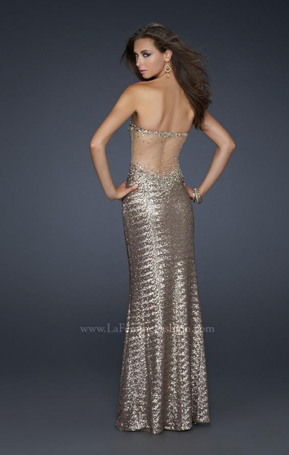 Picture of: Mermaid Stretch Sequin Prom Dress with Exposed Back in Gold, Style: 17506, Main Picture