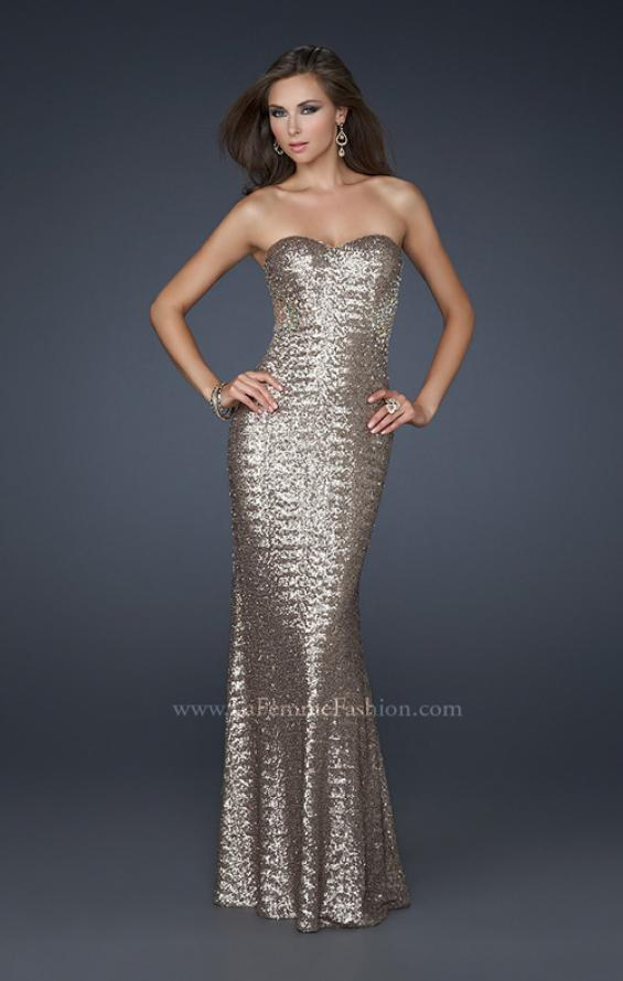 Picture of: Mermaid Stretch Sequin Prom Dress with Exposed Back in Gold, Style: 17506, Back Picture