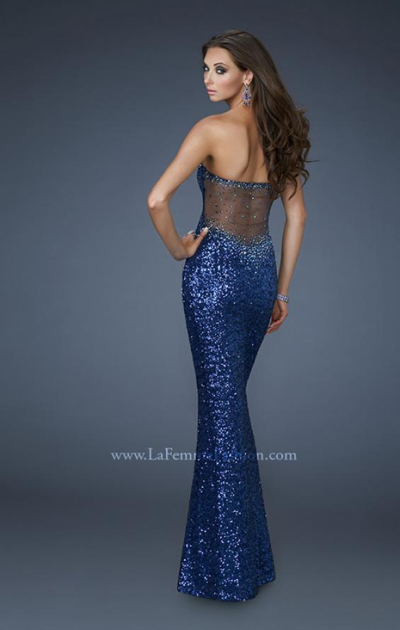 Picture of: Mermaid Stretch Sequin Prom Dress with Exposed Back in Blue, Style: 17506, Detail Picture 2