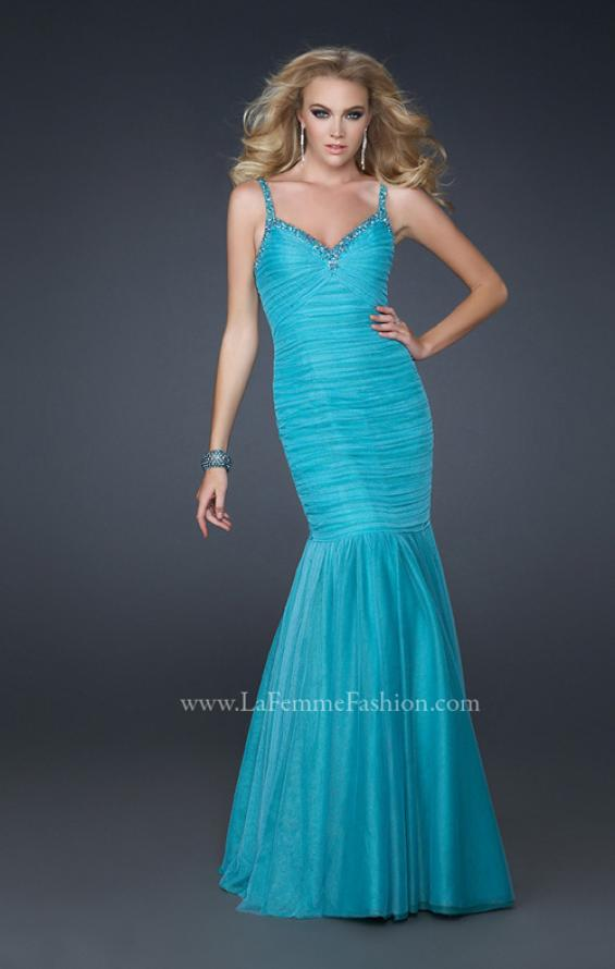 Picture of: Form Fitting Mermaid Dress with Beaded Neckline, Style: 17508, Main Picture