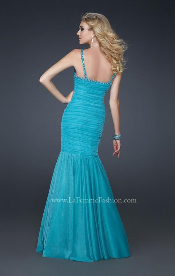 Picture of: Form Fitting Mermaid Dress with Beaded Neckline, Style: 17508, Back Picture