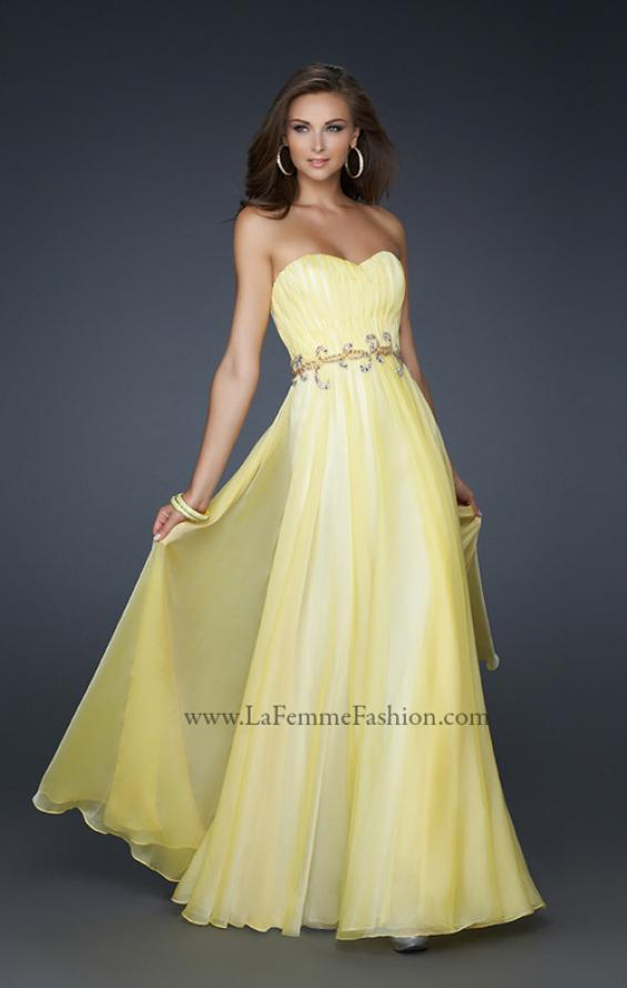 Picture of: Strapless Chiffon Prom Dress with Beaded Waistband in Yellow, Style: 17515, Main Picture