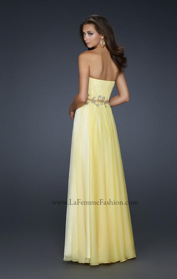 Picture of: Strapless Chiffon Prom Dress with Beaded Waistband in Yellow, Style: 17515, Back Picture