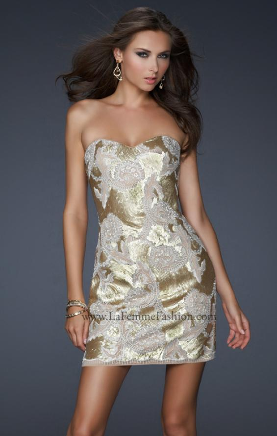 Picture of: Sequined Lace Strapless Dress with Sweetheart Neck in Gold, Style: 17517, Main Picture