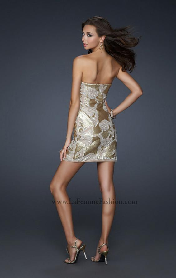 Picture of: Sequined Lace Strapless Dress with Sweetheart Neck in Gold, Style: 17517, Back Picture