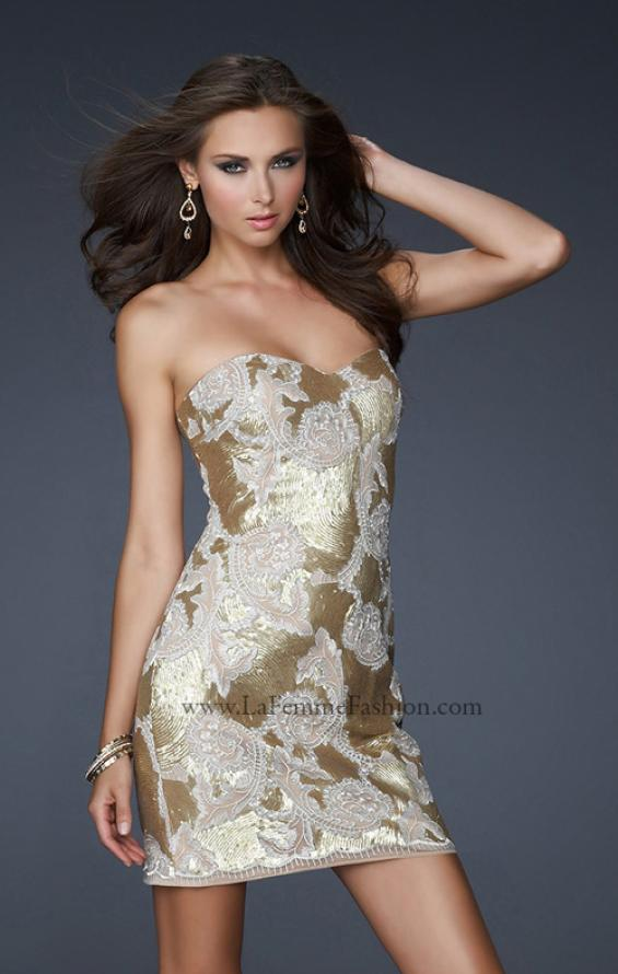 Picture of: Sequined Lace Strapless Dress with Sweetheart Neck in Gold, Style: 17517, Detail Picture 1