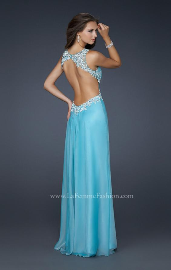 Picture of: Chiffon V Neck Prom Dress with Lace and Beaded Detail in Blue, Style: 17520, Back Picture