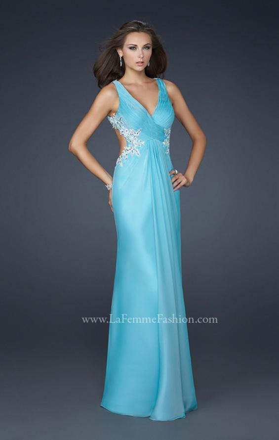 Picture of: Chiffon V Neck Prom Dress with Lace and Beaded Detail in Blue, Style: 17520, Detail Picture 1