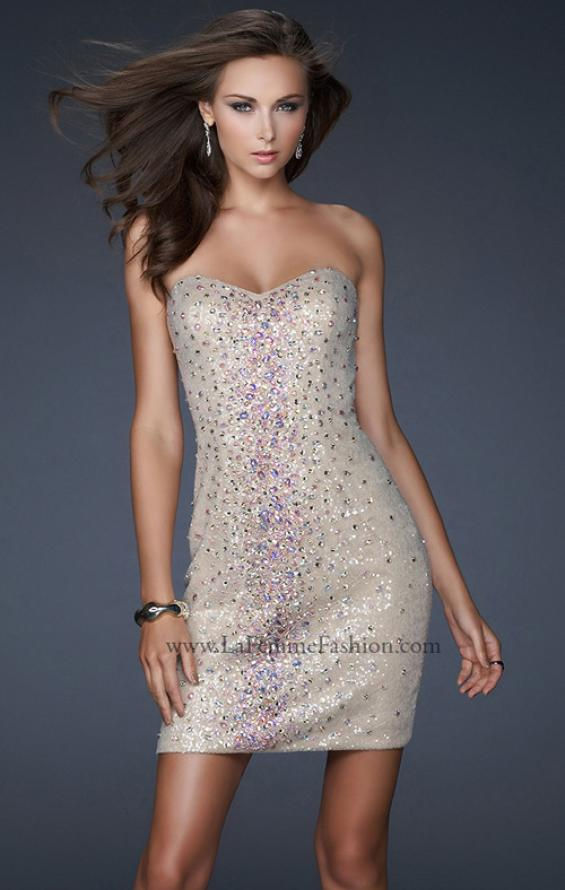 Picture of: Strapless Sequin Cocktail Dress with Beaded Detail in Nude, Style: 17522, Main Picture