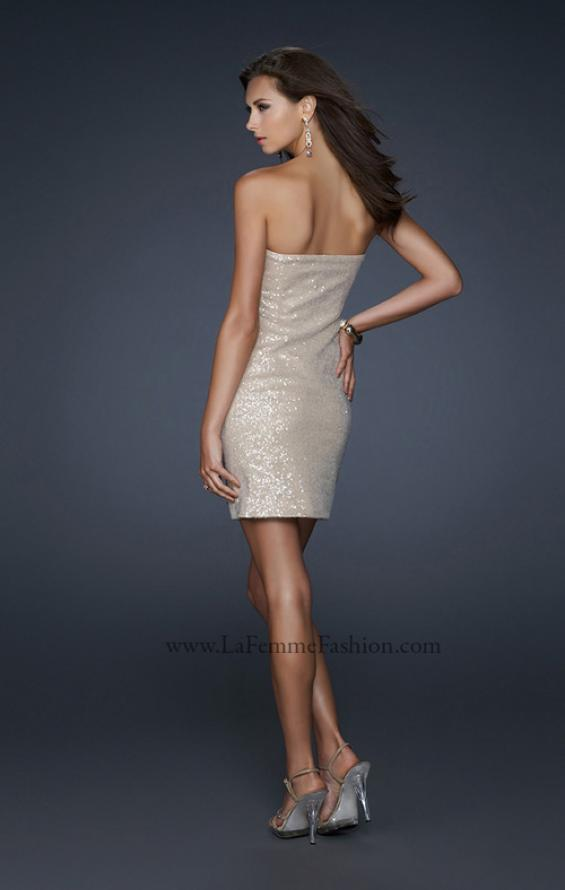 Picture of: Strapless Sequin Cocktail Dress with Beaded Detail in Nude, Style: 17522, Back Picture