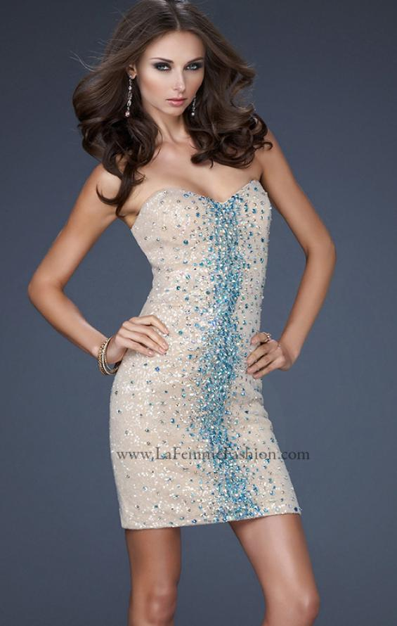 Picture of: Strapless Sequin Cocktail Dress with Beaded Detail in Nude, Style: 17522, Detail Picture 1