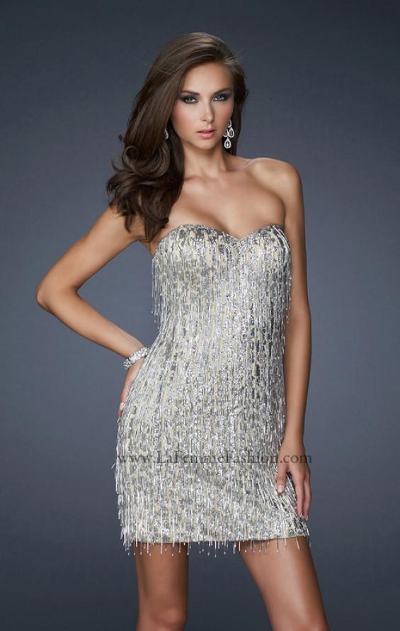 Picture of: Short Strapless Cocktail Dress with Sequined Bodice, Style: 17529, Main Picture