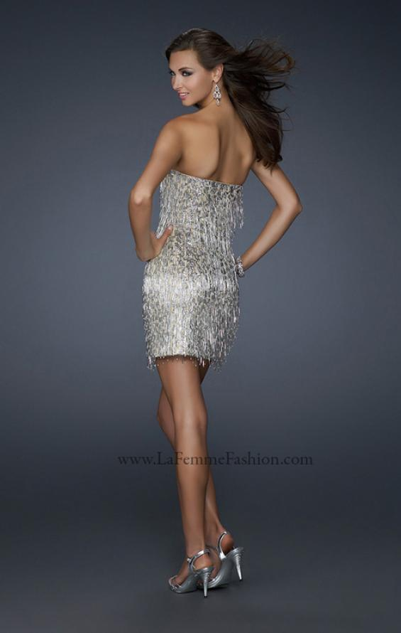 Picture of: Short Strapless Cocktail Dress with Sequined Bodice, Style: 17529, Back Picture