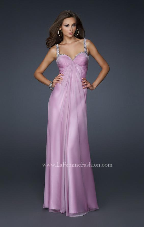 Picture of: Full Length Chiffon Prom Dress with Pleated Bust and Beading, Style: 17530, Main Picture