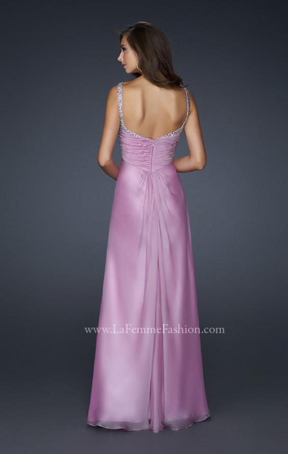 Picture of: Full Length Chiffon Prom Dress with Pleated Bust and Beading, Style: 17530, Back Picture
