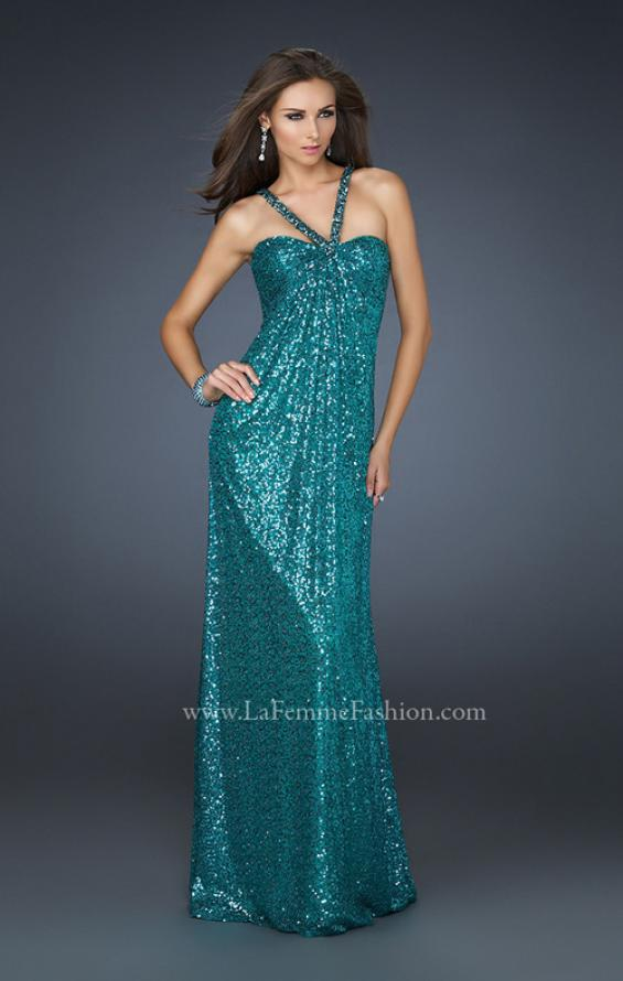 Picture of: Full Length Sequin Halter Dress with Diamond Open Back in Green, Style: 17538, Main Picture