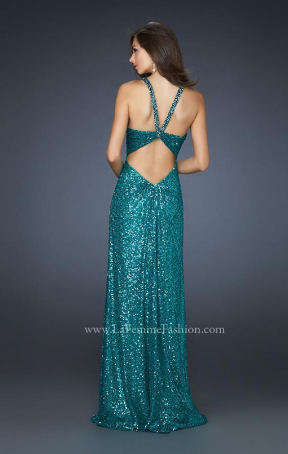 Picture of: Full Length Sequin Halter Dress with Diamond Open Back in Green, Style: 17538, Back Picture
