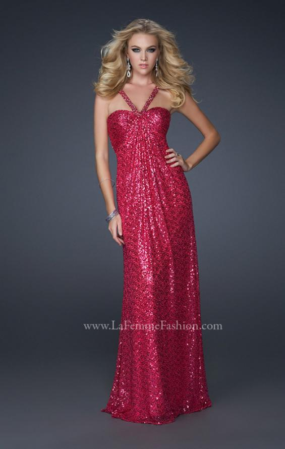Picture of: Full Length Sequin Halter Dress with Diamond Open Back in Pink, Style: 17538, Detail Picture 1