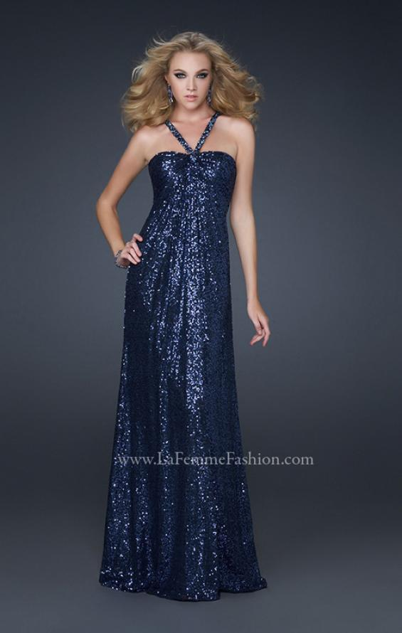 Picture of: Full Length Sequin Halter Dress with Diamond Open Back in Blue, Style: 17538, Detail Picture 2