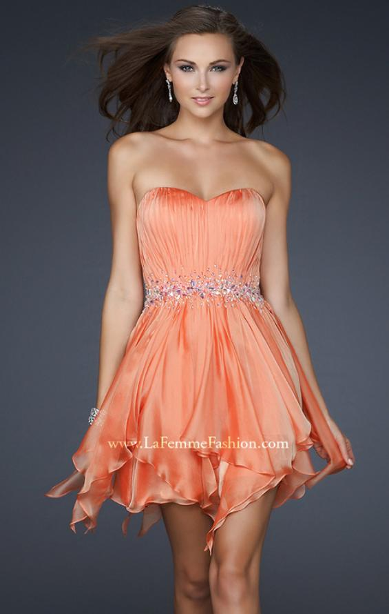 Picture of: Chiffon Cocktail Dress with Beaded Waist and Ruffles, Style: 17544, Main Picture