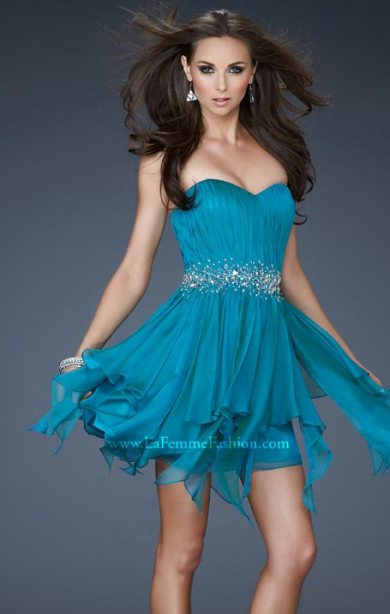 Picture of: Chiffon Cocktail Dress with Beaded Waist and Ruffles, Style: 17544, Detail Picture 1